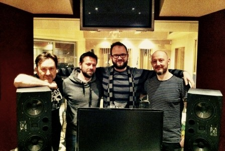 Tom with the band during new album pre-production sessions.