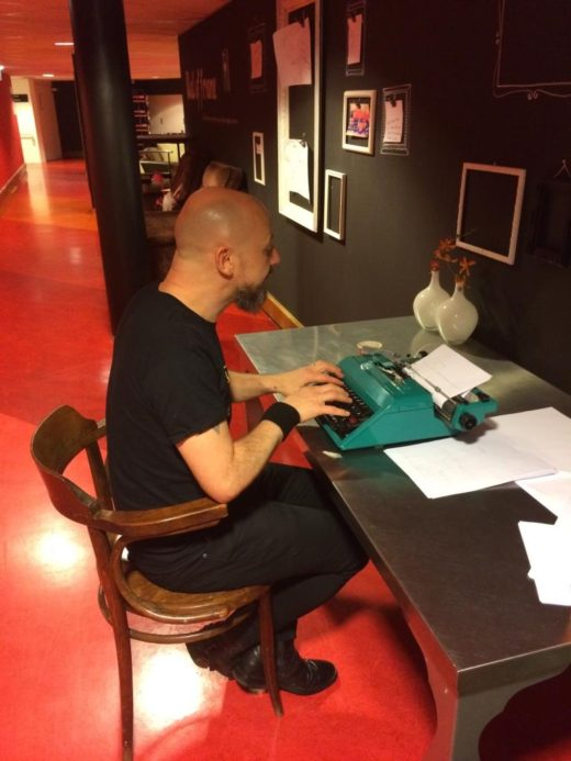 The author typing his diary in Appeldoorn